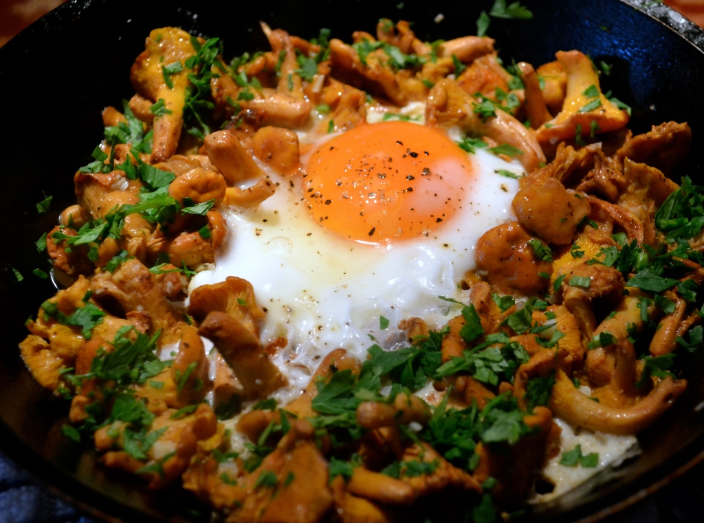 Fresh girolles, Burford Brown egg, parsley, garlic and lemon